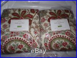 2 Pottery Barn Charlie Paisley Drapes, Warm Red, 108 Long, New