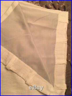 2 Pottery Barn Classic Belgian Flax Linen Curtains Blackout Lining 50x108 White