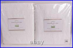 2 Pottery Barn Classic Belgian Flax Linen drape curtain panels 50x108, white