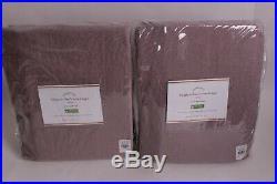 2 Pottery Barn Classic Belgian Flax Linen drape curtains 50x84, Amethyst purple