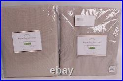 2 Pottery Barn Classic Belgian Linen blackout drape curtains 50x96, dark flax