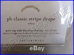 2 Pottery Barn Classic Stripe Drapes Curtains Panels BLACKOUT Pole 50x108 Taupe