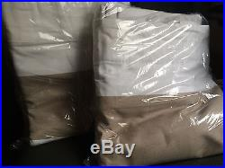 (2) Pottery Barn Classic Taupe Stripe Blackout Drapes, panels curtains 50x108
