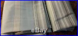 2 Pottery Barn Cole Stripe 100% Duponi Silk Drapes Blue Tan Cream
