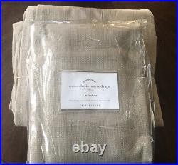 (2) Pottery Barn Cotton Basketweave Curtains Drapes Flax 50x96 Set NEW