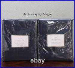 2 Pottery Barn DUPIONI SILK Curtain Drape Blackout Lining 50x84 INDIGO NAVY BLUE