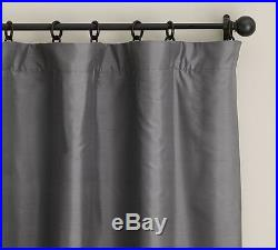 (2) Pottery Barn Dupioni Silk Drapes Flagstone Gray 50x96 Blackout Lining New