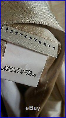 2 Pottery Barn Duponi Silk 104Wx96L Cotton Lined Drapes Sahara Perfect
