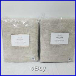 2 Pottery Barn Emery BLACKOUT 50x108 drapes panels OATMEAL Linen/cotton
