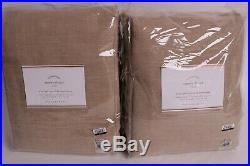 2 Pottery Barn Emery Linen Blackout Curtain Drape panels 50x108 walnut neutral