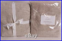 2 Pottery Barn Emery Linen Blackout Curtain Drape panels 50x96 oatmeal 2813392