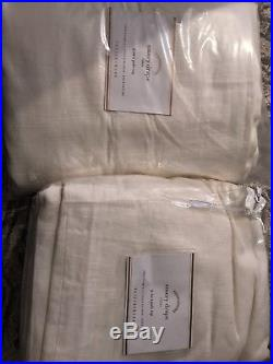 2 Pottery Barn Emery Linen/Cotton Drapes 3 in 1 poletop Double wide 100x96 White