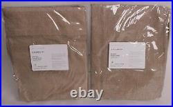 2 Pottery Barn Emery Linen Pinstripe Rod Pocket Sheer Curtains 50x84, oatmeal
