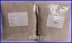 2 Pottery Barn Emery linen cotton rod pocket blackout curtains 100x96 oatmeal