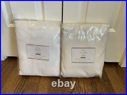 2 Pottery Barn Emery linen cotton rod pocket drape curtain panels 50x96 white