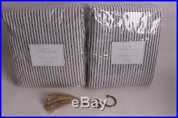 2 Pottery Barn Emily & Meritt Ticking Stripe curtains drape 50x96 black withtassle