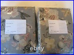 2 Pottery Barn Emmaline Print Linen Cotton Rod Pocket Curtain Cool Multi 50 84