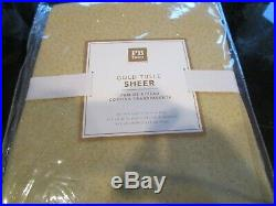 2 Pottery Barn Gold Tulle Sheer Curtains drapes 44 X 84 new