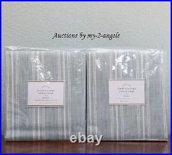 2 Pottery Barn HENDERSON STRIPE Grommet Outdoor Curtains Panels Drape 50x84 BLUE