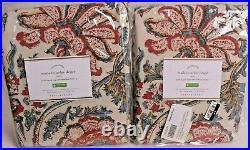 2 Pottery Barn Haylie linen cotton rod pocket blackout curtain panels 50x96 red