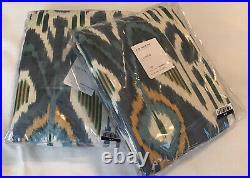 (2) Pottery Barn Ikat print rod pocket curtain panels 50x96, blue cool