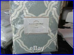 2 Pottery Barn Kendra Trellis Drapes pole top 50 X 96 porcelain blue New