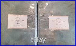 2 Pottery Barn Linen Silk Blend 3-in-1 Pole Top Drapes 50 X 96 BLUE DAWN
