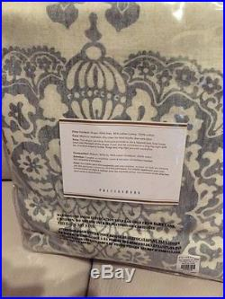 2 Pottery Barn Lucianna Medallion Drape Panels Curtains 50x84 Pole Top Gray Grey