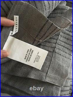 (2) Pottery Barn Martine Drapes 96 Sheer Curtain Pair Grey Flagstone New