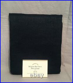 2 Pottery Barn Navy Classic Belgian Flax Linen 84 Sheer Curtains Drapes Panels