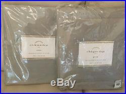 2 Pottery Barn Platinum Gray Silk Dupioni Drapes Panels Cotton Lining 50 X 124