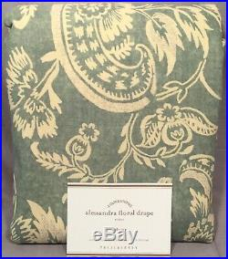 2 Pottery Barn Porcelain Blue Alessandra Floral Blackout 84 Curtains Drapes