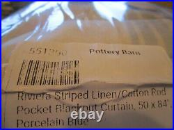 2 Pottery Barn Riviera DRAPEs panels curtains 50 84 blackout porcelain blue New