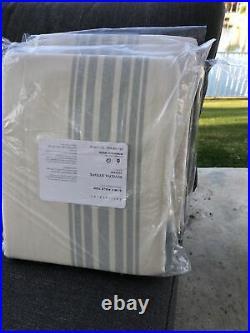 (2) Pottery Barn Riviera Stripe Drape Curtains Porcelain Blue 50x108