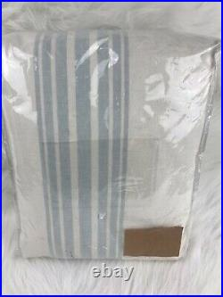 2 Pottery Barn Riviera Stripe blackout drape panels curtain 50x96 porcelain blue