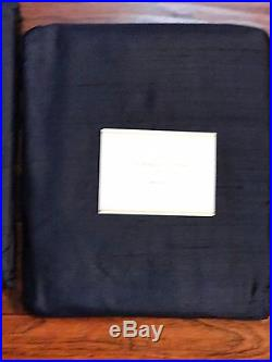 2 Pottery Barn SILK DUPIONI Doublewide Lined Drapes 104 X96 Indigo Blue