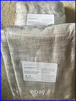 (2) Pottery Barn Seaton Textured Pole Blackout Drapes Curtains 50x84 Neutral