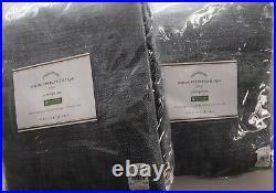 (2) Pottery Barn Seaton Textured Pole Drapes Curtains 50x84 Chambray Blue New