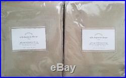 2 Pottery Barn Silk Dupioni Pole Pocket BLACKOUT Drapes 50 X 108 PARCHMENT