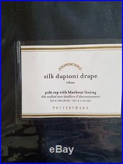 2 Pottery Barn Silk Dupioni Pole Pocket BLACKOUT Drapes 50 x 108 INDIGO BLUE