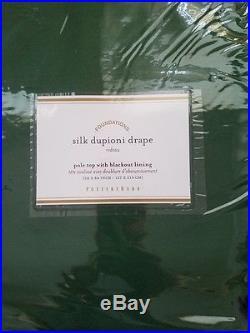 2 Pottery Barn Silk Dupioni Pole Pocket BLACKOUT Drapes 50x84 EMERALD GREEN