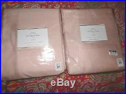 2 Pottery Barn Silk Dupioni Pole Pocket Drapes, 108, Cotton Lined, Soft Rose