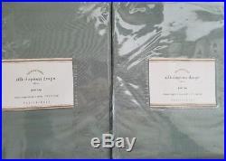 2 Pottery Barn Silk Dupioni Pole Pocket Drapes 50 X 84 BLUE DAWN
