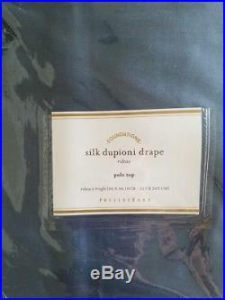 2 Pottery Barn Silk Dupioni Pole Pocket Drapes 50 X 96 LAGOON