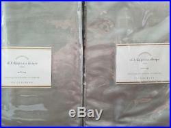 2 Pottery Barn Silk Dupioni Pole Pocket Drapes 50 X 96 PLATINUM GRAY