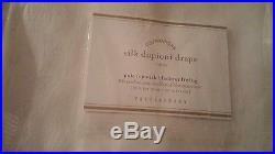 2 Pottery Barn Silk Dupioni drapes panels blackout 50 X 108 white New