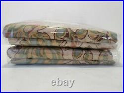 2- Pottery Barn Simone drape Curtains 50x96 Multi Color Beige Green