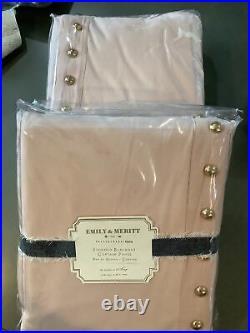 2 Pottery Barn Teen Emily & Meritt Studded Blackout Curtain Nude Blush 84#1377