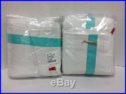 2 Pottery Barn Teen PBT Suite Ribbon Dorm Drapes Panels Curtains POOL 52x108