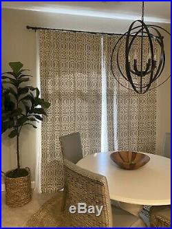 2 Pottery Barn Terri Trellis Drapes Panels Curtains BLACKOUT 50x108 Neutral